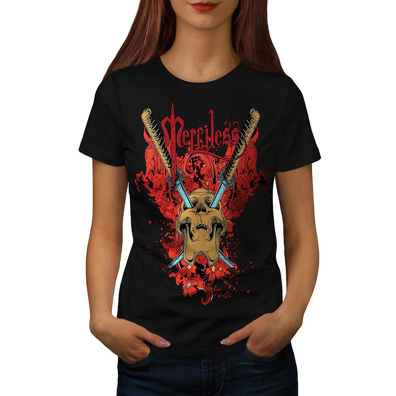 Merciless Flower Skull Women Black T-shirt | Wellcoda