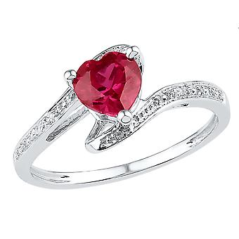 Sterling Silver Lab Created Ruby 1.00 carat (ctw) Ring