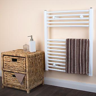 Ladder Towel Rail Radiator - Curved - White - (H)730 x (W)600mm