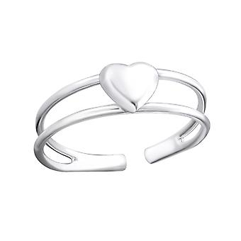 3d heart - 925 Sterling Silver Toe Rings