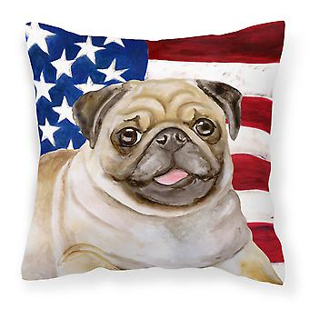 Carolines Treasures  BB9718PW1818 Fawn Pug Patriotic Fabric Decorative Pillow