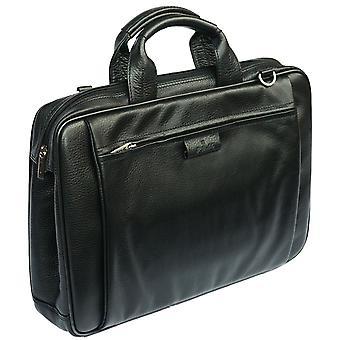 Leder Aktentasche Businesstasche mit Organizer Damen Schultergurt Arbeit Gehäuse (schwarz)