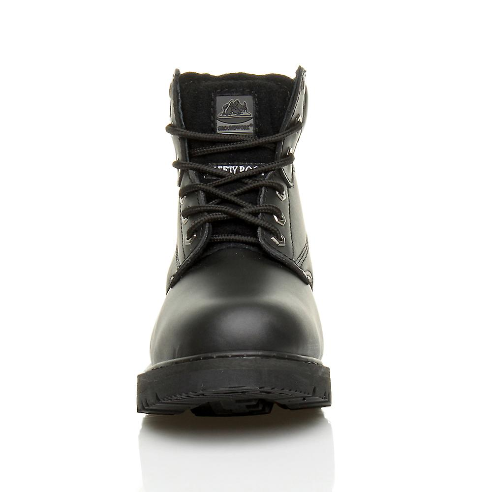 steel cap ankle Ajvani boots toe up mens shoes work safety lace hiking qnPnwrv8xY