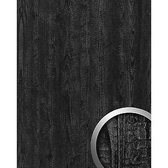 Wall Panel wood optics WallFace 20224 CARBONIZED WOOD wall panel smooth in the used look matte adhesive abrasion resistant grey anthracite grey 2.6 m2