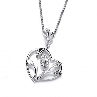 Cavendish French Silver and CZ Heart of the Flower Pendant with 16-18
