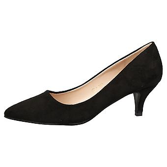 Miranda Womens Low Kitten Heel Slip On Pointed Toe Court Shoes
