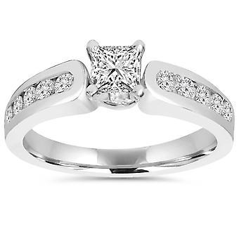 1 CT Princess Cut Diamond Engagement Ring 14k White Gold