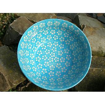 Waves edge Bowl ø 22-24 cm, height 10 cm, Bolesławiec turquoise - BSN m-4314
