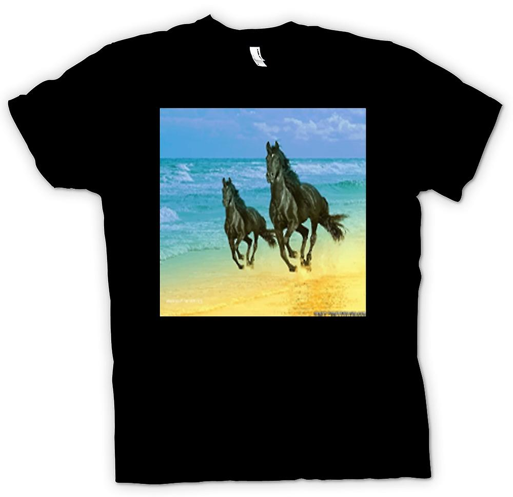Mens T-shirt - Galloping Horses on the Beach