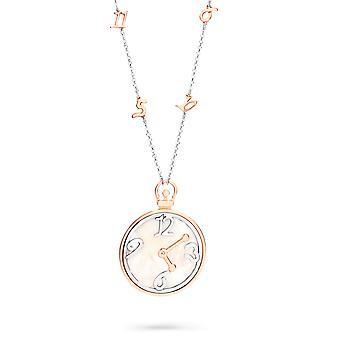 Orphelia argento 925 collana bicolore grande orologio con numeri Mop ZK-7174