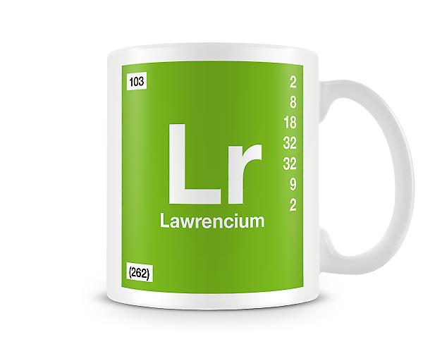 Element Symbol 103 Lr - Lawrencium Printed Mug