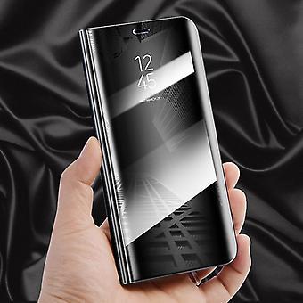 For Huawei Y7 2018 klart se spejl spejl smart cover sort beskyttende tilfælde dække pose taske sag ny sag Telefonvækning funktion
