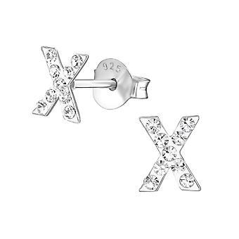 « x » - 925 Sterling Silver Crystal argenter