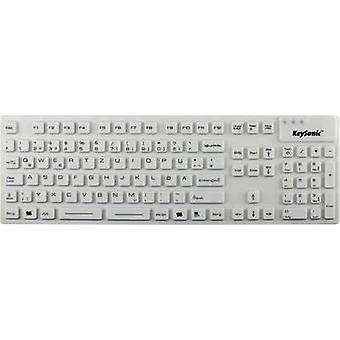Keysonic KSK-8030 IN (DE) USB keyboard White Sealed silicone cover, Water-proof (IPX7)
