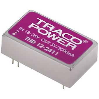 TracoPower THD 12-2412 DC/DC converter (print) 24 Vdc 12 Vdc 1 A 12 W No. of outputs: 1 x