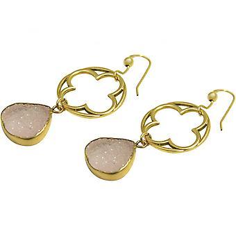 Ladies - earrings - 925 Silver - gold plated-- DRUZY - Rose Quartz - 5 cm