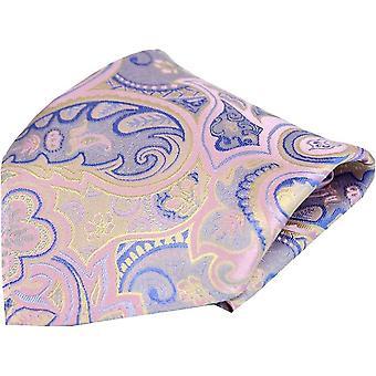 Posh og Dandy Edwardian Paisley silke Pocket Square - Pastel Pink
