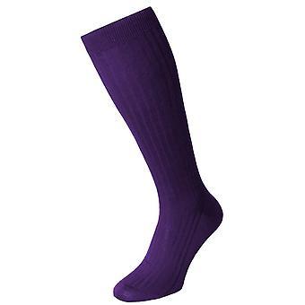 Pantherella Danvers Cotton Lisle Over the Calf Socks - Crocus Purple