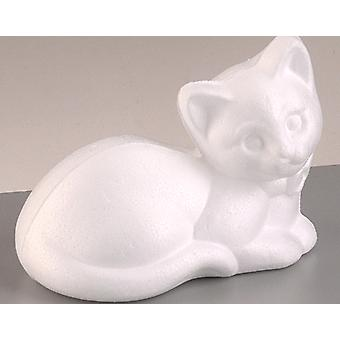 95mm Polystyrene Resting Cat Shape to Decorate | Styrofoam Shapes for Crafts