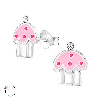 Cupcake - 925 Sterling Silver Crystal Ear Studs - W32783x