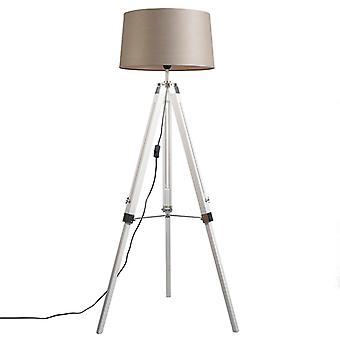 QAZQA Floor Lamp Tripod White with Shade 45cm Linen Taupe