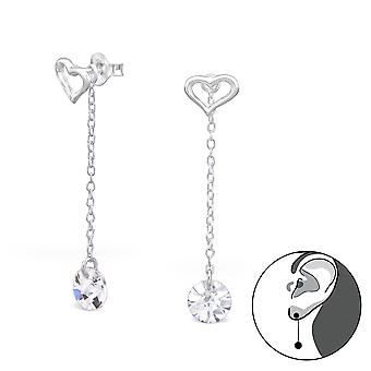 Heart - 925 Sterling Silver Ear Jackets & Double Earrings - W26579x