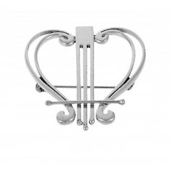 Cavendish French Sterling Silver Hearts and Harps Brooch