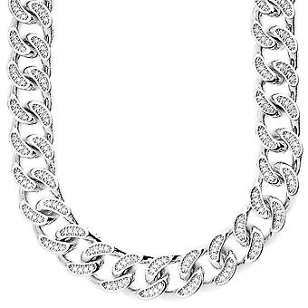 Iced out bling micro pave curb chain - CZ CUBAN 15 mm silver