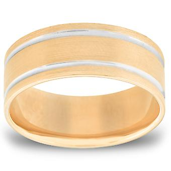 Mens 8mm Two Tone Comfort Fit Wedding Band Ring