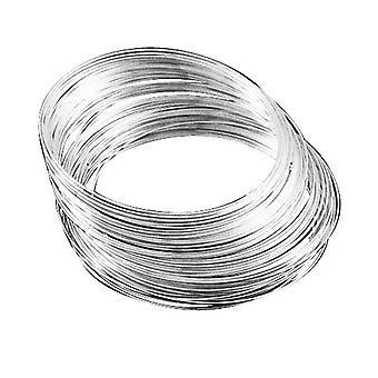 Pakke 20 x sølv stål rundt minne Wire looper 1 mm 5,5 cm armbånd HA02705
