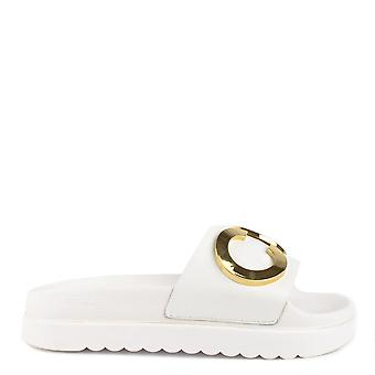MICHAEL by Michael Kors Cortlandt White Leather Embellished Slide