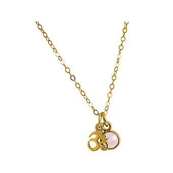 Gemshine YOGA Meditation Ohm Halskette aus 925 Silber oder hochwerig vergoldet. 1,3 cm Anhänger mit Rosenquarz. Nachhaltiger, qualitätsvoller Schmuck Made in Spain