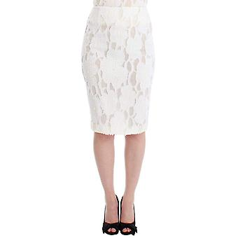 Andrea Incontri White Silk Straight Knee-Length Pencil Skirt -- SIG1774213