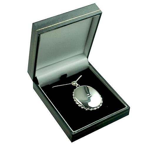 Silver 37x28mm hand engraved twisted wire edge oval Locket with a curb Chain 18 inches