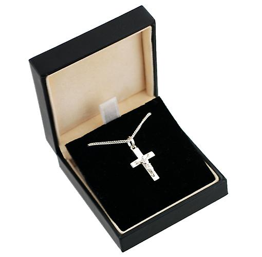 Silver 20x12mm solid block Crucifix Cross with a curb Chain 22 inches