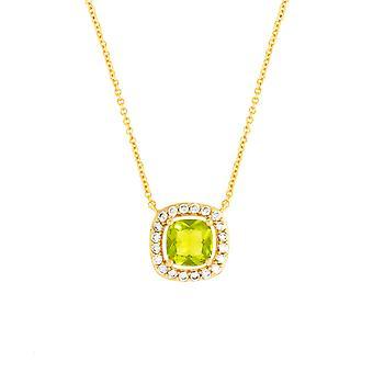 Bertha Juliet Collection Women's 18K YG Plated Light Green Cushion Halo Fashion Necklace