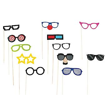 SALE - 12 Glasses Funny Photo Booth Props for Parties