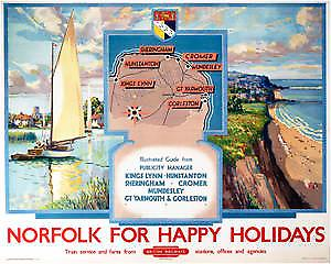 Norfolk for Happy Holidays (old rail ad.) fridge magnet  (se)