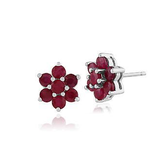 Gemondo 925 Sterling Silver 1.55ct Ruby Floral Stud Earrings