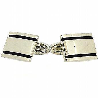 Henley Glamour Gents Silvertone & Black Enamel Oblong Cufflinks In Gift Box
