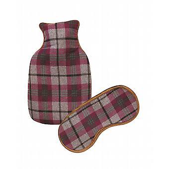 Tartan Check Mini Hot Water Bottle & Eye Mask Gift Set