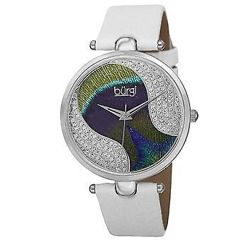 Burgi Women's BUR131 Swarovski Crystal Peacock Pattern Dial Leather Strap Watch BUR131WTS