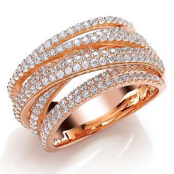 Jewelco London Rose Gold-Plated Sterling Silver Round Brilliant Cubic Zirconia Fancy Crossover Eternity Ring