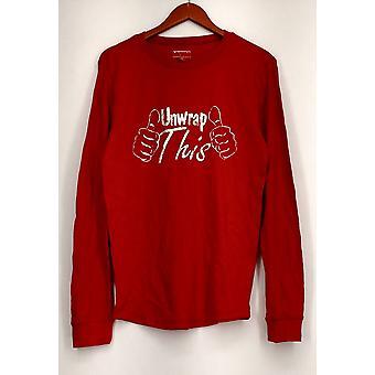 Merona Sleepshirt Thermal Long Sleeve Metallic Graphic Red Womens