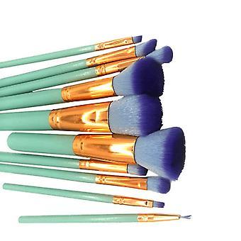 Make-up Pinsel Set, 10 Stück-Türkis und Roségold
