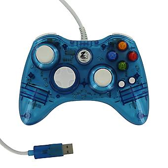 Compatible wired colour glow vibration usb controller for microsoft xbox 360 - blue