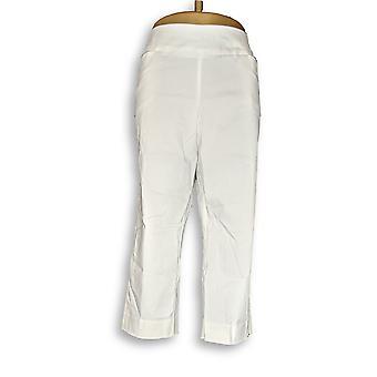 Susan Gravir Donne's Petite Pantaloni Uptown Stretch Pull-On Crop Bianco A306514