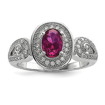 925 Sterling Silver Pave Rhodium-plated and Cubic Zirconia Brilliant Embers Ring - Ring Size: 6 to 8