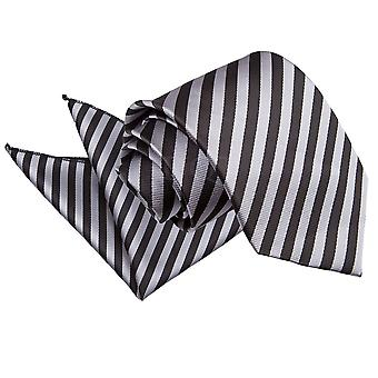 Men's Thin Stripe Black & Grey Tie 2 pc. Set