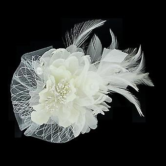 White Beads Feather & Crystals Corsage Hair Fascinator / Brooch / Accessory